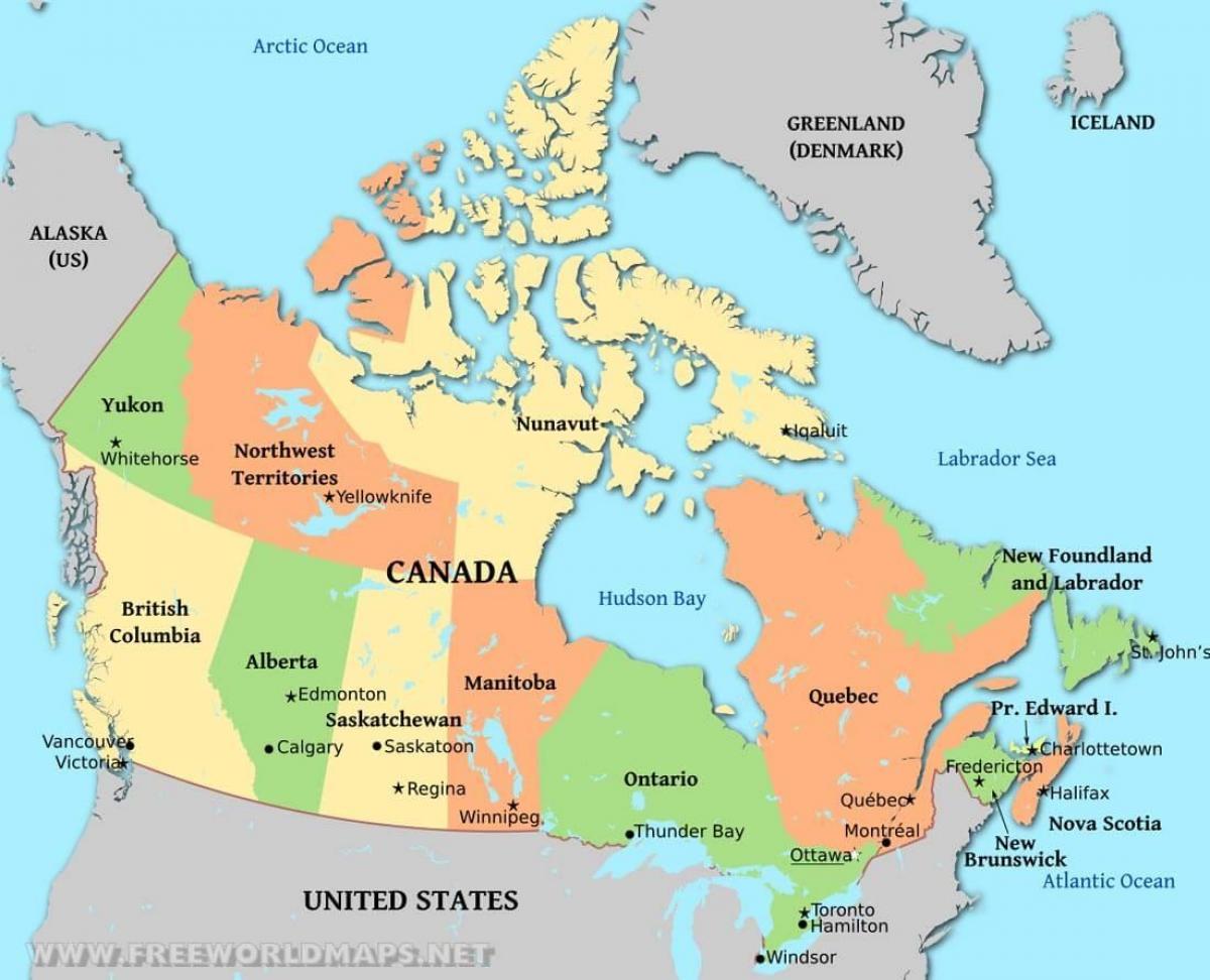 الخريطة السياسية كندا الخريطة السياسية كندا أمريكا الشمالية
