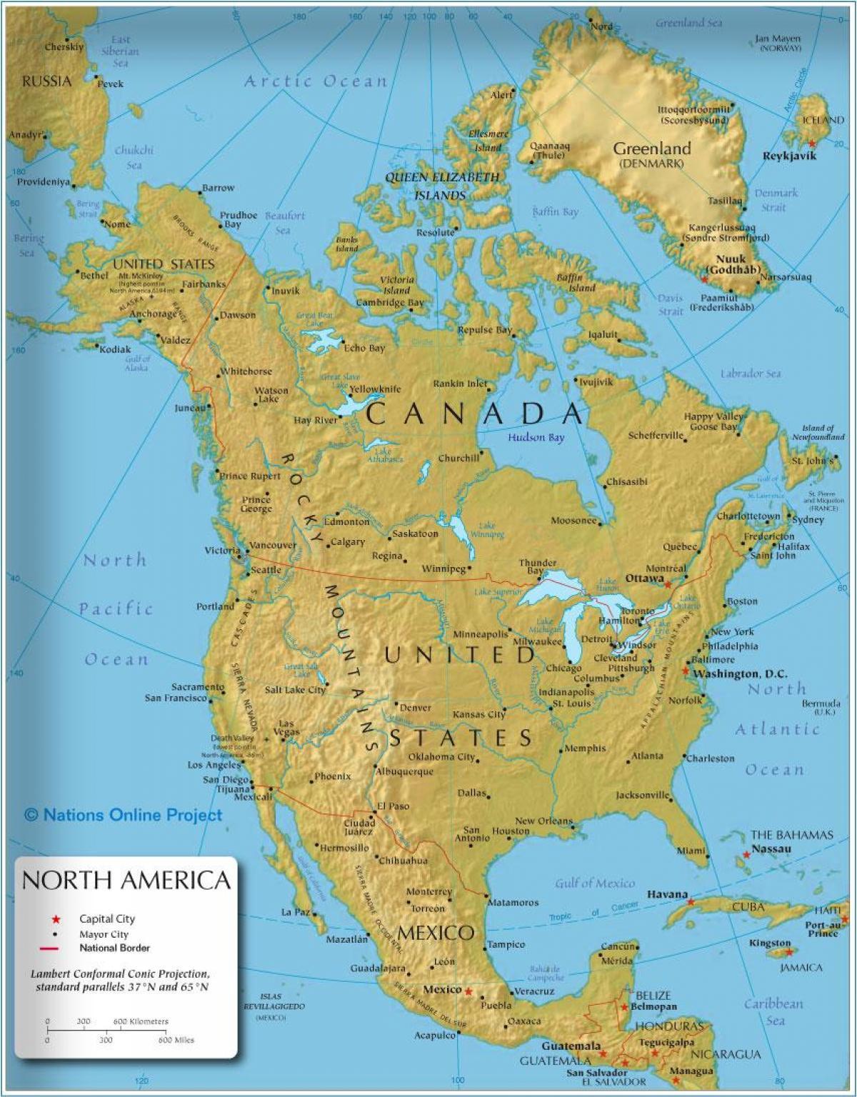 كندا الحدود خريطة خريطة الحدود كندا أمريكا الشمالية أمريكا